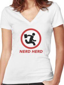 Nerd Herd 1 Women's Fitted V-Neck T-Shirt