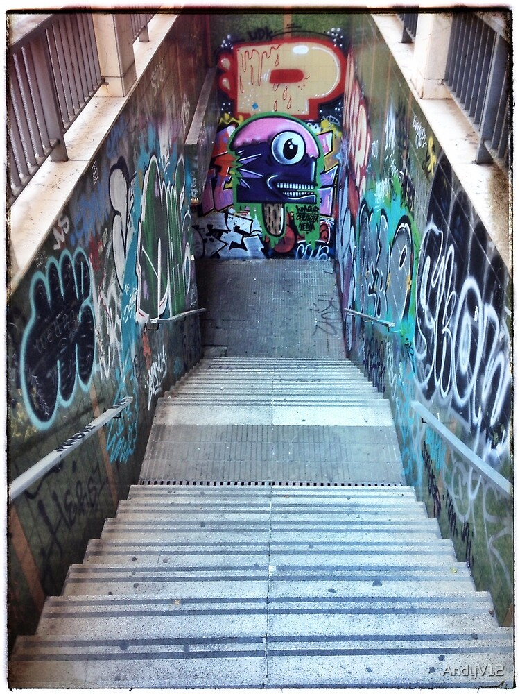 The Spanish Steps. To go or not to go. Subway graffiti. by Andy Freer