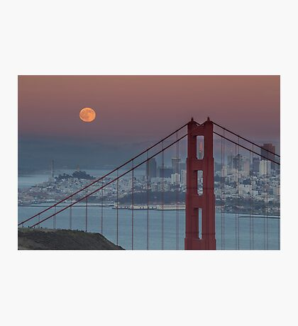 Moon, San Francisco, Golden Gate Photographic Print