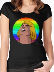 Rainbow He-Man Women's Fitted Scoop T-Shirt