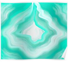 AGATE BLUE GREEN AND WHITE Poster