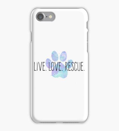 Live. Love. Rescue. Blue Dog Paw iPhone Case/Skin