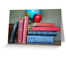 Classic Books with a Red Apple Greeting Card