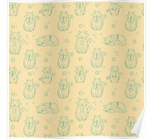 Cute abstract seamless cat pattern Poster