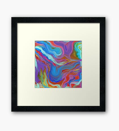 AGATE OIL PAINTING: MYSTERIOUS BLUES Framed Print