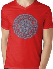 Summer Bloom - floral doodle pattern in turquoise & white Mens V-Neck T-Shirt