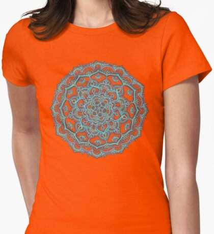 Summer Bloom - floral doodle pattern in turquoise & white Womens Fitted T-Shirt