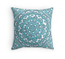 Summer Bloom - floral doodle pattern in turquoise & white Throw Pillow