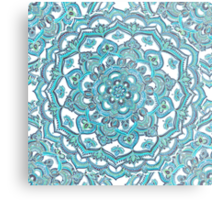 Summer Bloom - floral doodle pattern in turquoise & white Metal Print