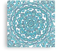 Summer Bloom - floral doodle pattern in turquoise & white Canvas Print
