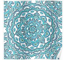 Summer Bloom - floral doodle pattern in turquoise & white Poster