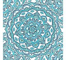 Summer Bloom - floral doodle pattern in turquoise & white Photographic Print