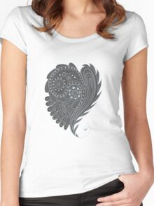 Grey and white pattern Women's Fitted Scoop T-Shirt