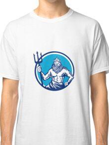Poseidon Trident Circle Woodcut Classic T-Shirt