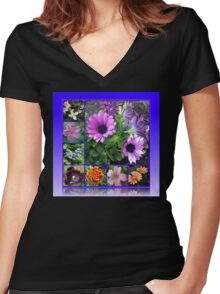 Singing of Summer - Floral Collage Women's Fitted V-Neck T-Shirt