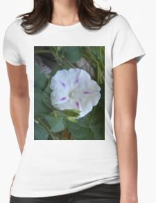 White Morning Glory Womens Fitted T-Shirt