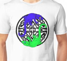 Blue and Green Celtic Crested Geckos (white background) Unisex T-Shirt