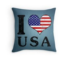 I LOVE USA (black) Throw Pillow