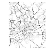 Frankfurt Map, Germany - Black and White Photographic Print