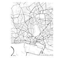 Hamburg Map, Germany - Black and White Photographic Print