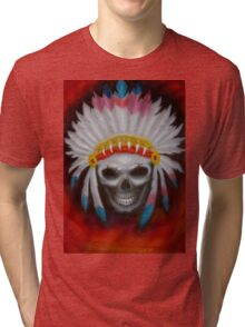 american indian chief skull Tri-blend T-Shirt