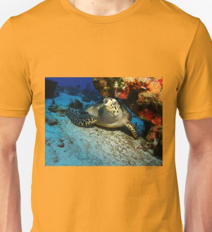 Hawksbill Turtle Under A Coral Ledge Unisex T-Shirt