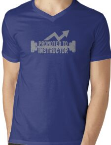 Promoted to Instructor with weights distressed Mens V-Neck T-Shirt