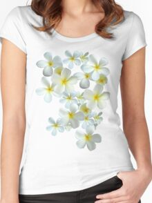Frangipani - White and Yellow Women's Fitted Scoop T-Shirt
