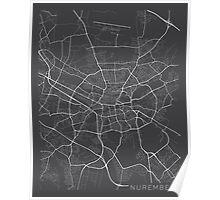 Nuremberg Map, Germany - Gray Poster
