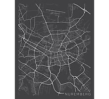Nuremberg Map, Germany - Gray Photographic Print