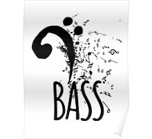 Bass Clef Music Notes Abstract Poster