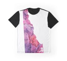 Watercolor Map of Delaware, USA in Pink and Purple - Giclee Print of My Own Watercolor Painting Graphic T-Shirt