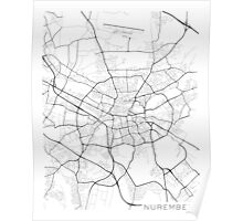 Nuremberg Map, Germany - Black and White Poster