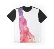 Watercolor Map of Delaware, USA in Orange, Red and Purple - Giclee Print  Graphic T-Shirt