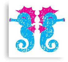 Two seahorses distressed version Canvas Print