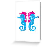 Two seahorses distressed version Greeting Card