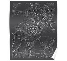 Stuttgard Map, Germany - Gray Poster