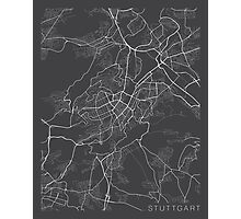 Stuttgard Map, Germany - Gray Photographic Print