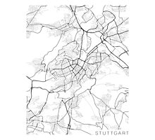 Stuttgard Map, Germany - Black and White Photographic Print