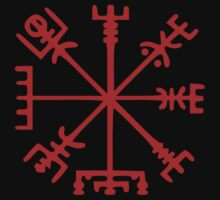 Blood Red Vegvísir (Viking Compass) by tinybiscuits