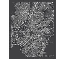 Athens Map, Greece - Gray Photographic Print
