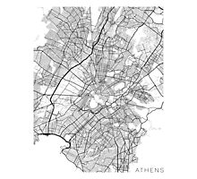 Athens Map, Greece - Black and White Photographic Print
