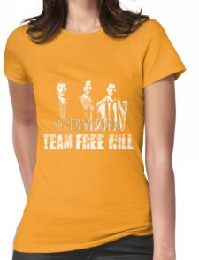 Supernatural Team Free Will White silhouette Womens Fitted T-Shirt