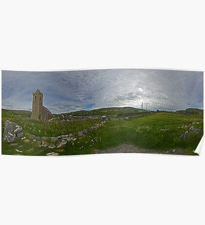 Glencolmcille Panorama with Church Poster