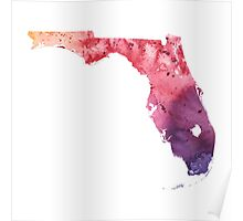 Watercolor Map of Florida, USA in Orange, Red and Purple - Giclee Print  Poster