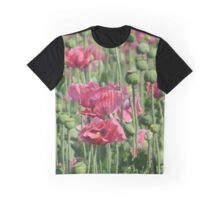 Pink Poppies Field Graphic T-Shirt