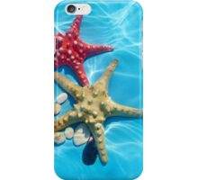 Blue water with starfishes and seashells iPhone Case/Skin