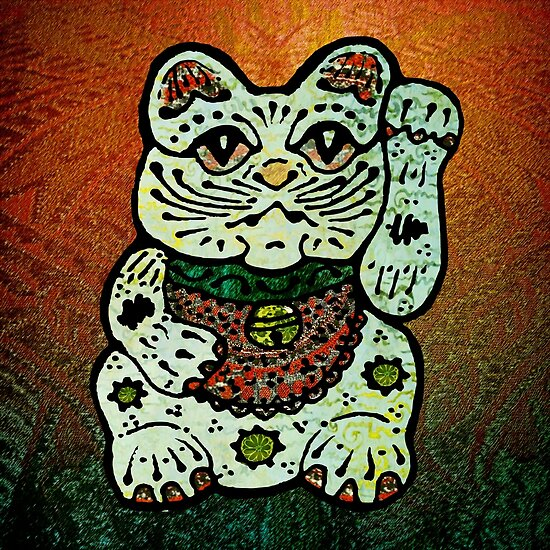 'Shiny Lucky Cat #3' by ellejayerose