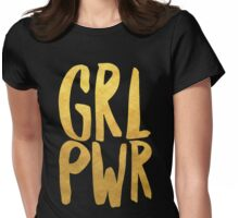Girl Power Gold Text Womens Fitted T-Shirt