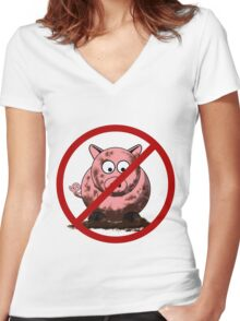 No Dirty Pigs Women's Fitted V-Neck T-Shirt